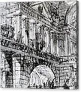 Temple Courtyard Acrylic Print by Giovanni Battista Piranesi