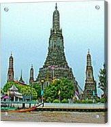 Temple Of The Dawn-wat Arun From Waterways Of Bangkok-thailand Acrylic Print