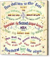 Ten Commandments Calligraphy 1889 Acrylic Print