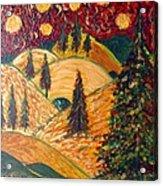 Ten Moons In Scarlet Sky Acrylic Print