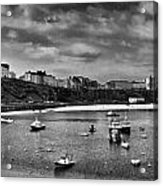 Tenby Panorama Mono 2 Acrylic Print
