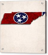 Tennessee Map Art With Flag Design Acrylic Print
