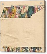 Tennessee Map Vintage Watercolor Acrylic Print