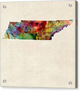 Tennessee Watercolor Map Acrylic Print by Michael Tompsett