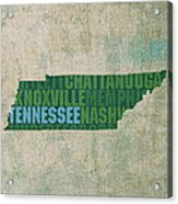 Tennessee Word Art State Map On Canvas Acrylic Print by Design Turnpike