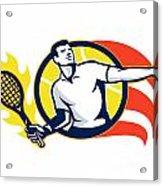 Tennis Player Flaming Racquet Ball Retro Acrylic Print