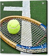 Tennis - Wooden Tennis Racquet Acrylic Print by Paul Ward