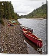 Tents And Canoes At Mcquesten River Yukon Canada Acrylic Print
