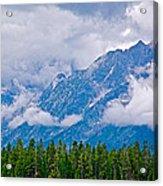 Teton Peaks Through Clouds In Grand Teton National Park-wyoming   Acrylic Print
