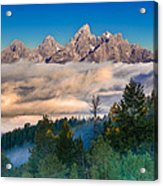 Tetons Above The Clouds Acrylic Print