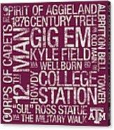 Texas Am College Colors Subway Art Acrylic Print