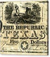 Texas Banknote, 1840 Acrylic Print
