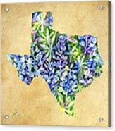 Texas Blues Texas Map Acrylic Print