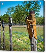 Texas Boot Fence Acrylic Print