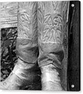 Texas Boots Portrait - Bw 03 Acrylic Print