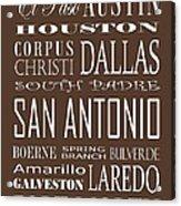 Texas Cities On Brown Acrylic Print