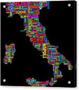 Text Map Of Italy Map Acrylic Print