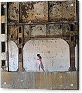 Texting Girl W/ Viaduct Acrylic Print by Joe Kotas