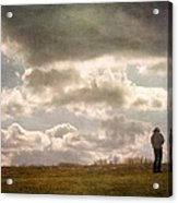 Texting On The Edge Acrylic Print by Gary Slawsky