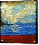 Textured Beach Scene Painting Fine Art Print Acrylic Print by Laura Carter