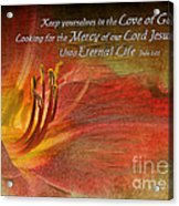 Textured Red Daylily With Verse Acrylic Print