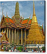 Thai-khmer Pagoda And Golden Chedis At Grand Palace Of Thailand  Acrylic Print