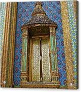 Thai-kmer Pagoda Window At Grand Palace Of Thailand In Bangkok Acrylic Print