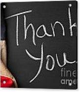 Thank You Sign On Chalkboard Acrylic Print