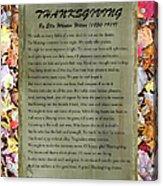 Thanksgiving By Ella Wheeler Wilcox Acrylic Print