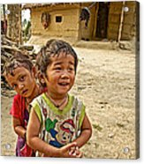 Tharu Village Children Love To Greet Us-nepal- Acrylic Print