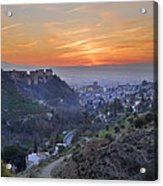 The Alhambra And Granada At Sunset Acrylic Print