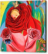 The Angel Of Roses Acrylic Print