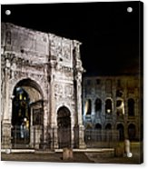 The Arch Of Constantine And The Colosseum At Night Acrylic Print