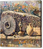 The Armenian Still-life With A Fragment Cross - Stone  Armenian Khachqar Acrylic Print