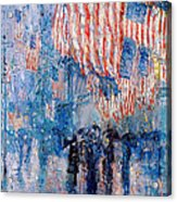 The Avenue In The Rain Acrylic Print by Frederick Childe Hassam