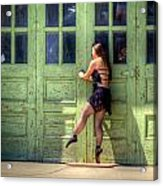 The Ballerina And The Green Doors Acrylic Print