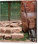 Rusty Wheelbarrow And Green Door Acrylic Print