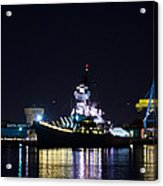 The Battleship New Jersey At Night Acrylic Print