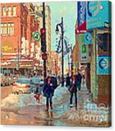 The Bay Department Store Downtown Montreal University And St Catherine Winter City Scene C Spandau  Acrylic Print