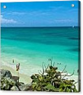 The Beach At The Tulum Ruins Acrylic Print
