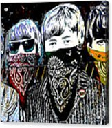 The Beatles wearing face masks Acrylic Print