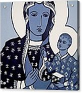 The Black Madonna In Blue Acrylic Print