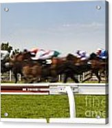 The Blur Of Racehorses Racing By The Rails On A Race Track  Acrylic Print