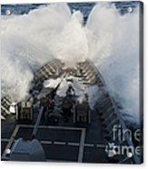 The Bow Of Uss Cowpens Plows Acrylic Print