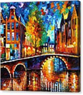 The Bridges Of Amsterdam - Palette Knife Oil Painting On Canvas By Leonid Afremov Acrylic Print