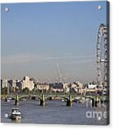 The British Airways London Eye And Westminster Bridge In London England Acrylic Print