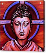 The Buddha In Red And Gold Acrylic Print