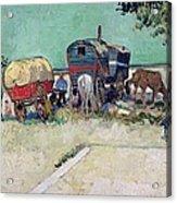The Caravans   Gypsy Encampment Near Arles Acrylic Print by Vincent Van Gogh