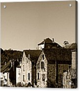The Castle Above The Village Panorama In Sepia Acrylic Print