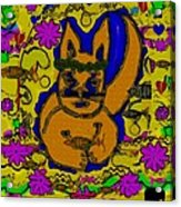 The Cat And His Fish Popart Acrylic Print